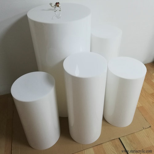 White Acrylic Party Round Plinths, Acrylic Cylinder Pedestals Display Platform