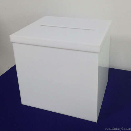 White Acrylic Donation Box with Removable Cover Lid