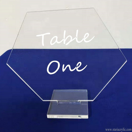 Clear Easy Assembly Hexagon Acrylic Table Number for Restaurant