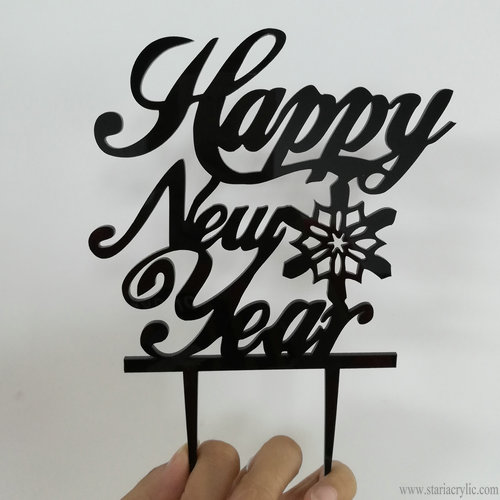 Acrylic Happy New Year Cake Topper Party Decorations Family Celebration