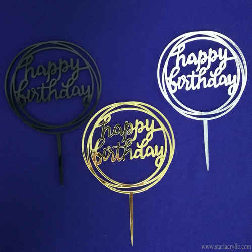 Mirror Round Acrylic Happy Birthday Cake Topper
