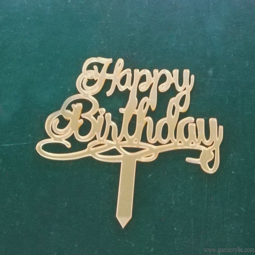 Gold Mirror Happy Birthday Acrylic Cake Toppers