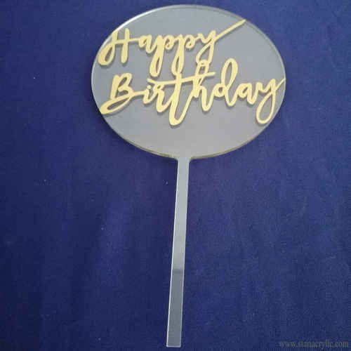 Round Lettering Happy Birthday Acrylic Cake Topper Clear Monogrammed Cake Decor