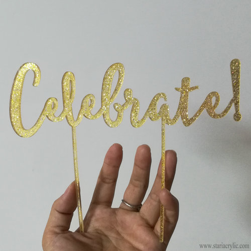 Celebrate Gold Glitter Acrylic Cake Toppers Monogram