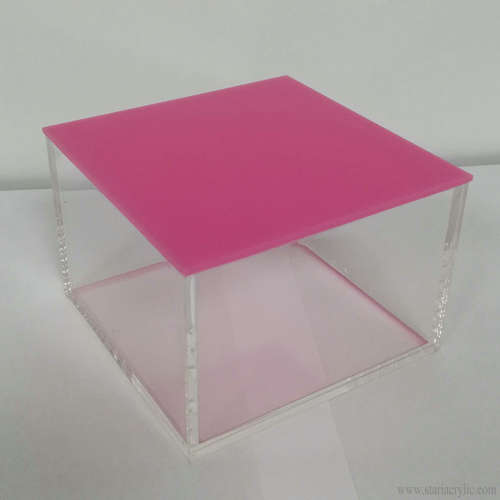 Clear Storage Containers Acrylic Boxes with colored rebate lid