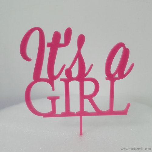 It's a Girl Pink Acrylic Cupcake Toppers
