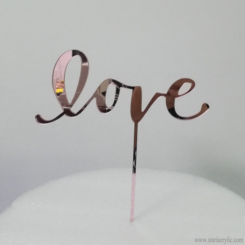 Rose Gold Mirror Love Acrylic Wedding Cake Topper