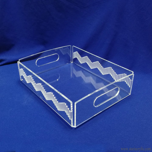 Decorative Acrylic Serving Tray with Handles