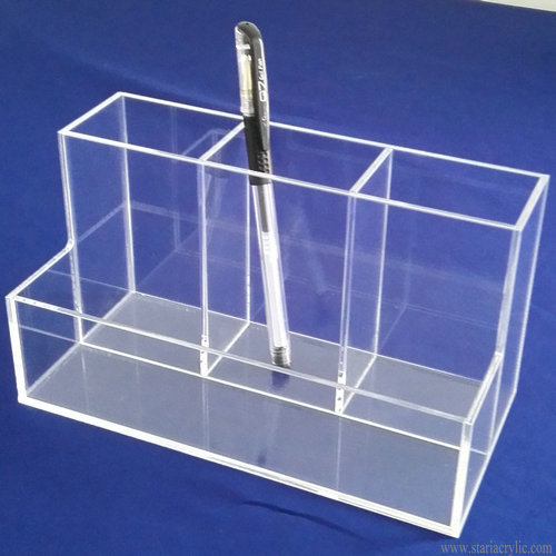 Acrylic Desk Organizer with 4 Section Makeup Organizer