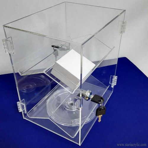 Spinning Acrylic Jewelry Display Case Ring Box Display Cabinet with Lock