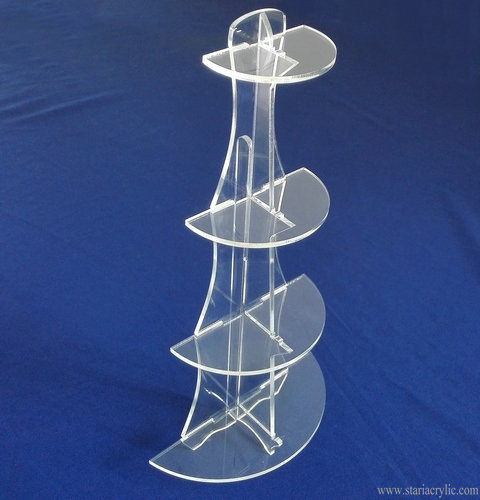 4 Shelf Acrylic Half Round Circle Display Stand Riser for Boutiques Cupcake