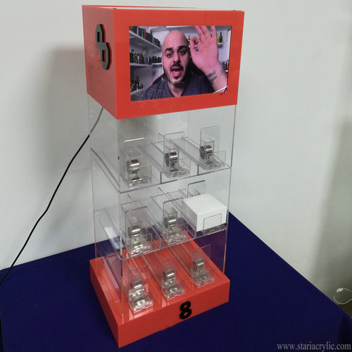 Acrylic E-Cigarette Pack Pusher Display Cabinet Holder with LCD advertising player