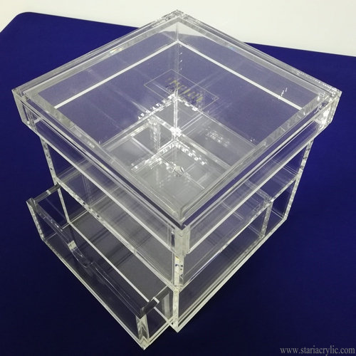 Single Rose Acrylic Square Box with Drawer