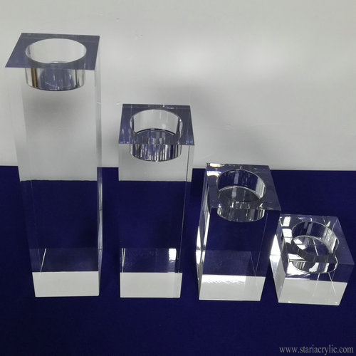 Acrylic Candle Holder Block Cube Tea Light Candle Holders