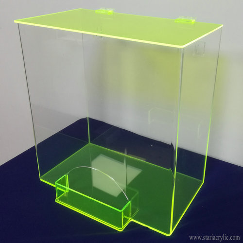 Clear and Neon Green Acrylic Ear Plug Dispenser Holder with Flip up Lid