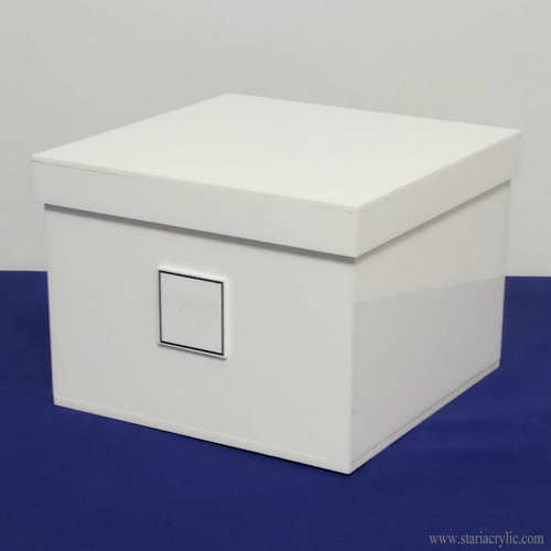 White Square Big Acrylic Storage Box with Lid for Rose Flower