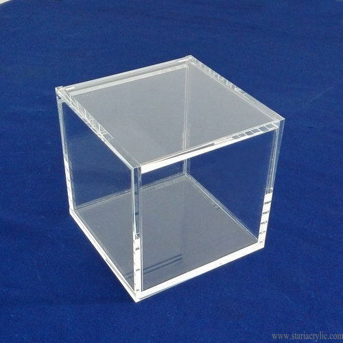 Clear Lucite Acrylic Storage Box with Hinged Lid