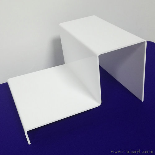 White Acrylic 2 Step Riser Display Stand