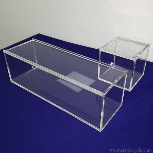 Sliding Lid Clear Acrylic Cube Boxes Gift Box