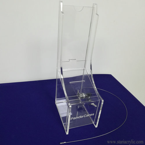 Lockable Acrylic Donation Box with Sign holder and Security system