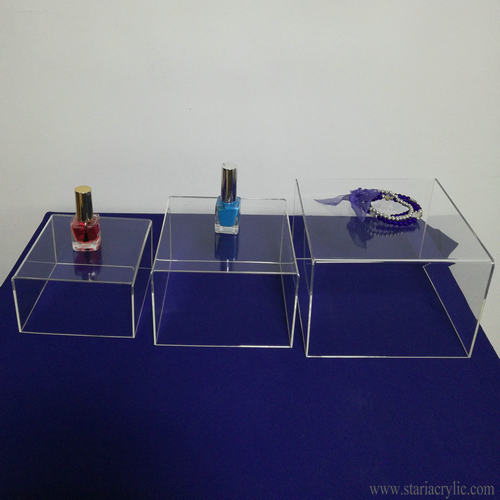 Set of 3 5-sided Acrylic Cube Display Nesting Risers Storage Boxes