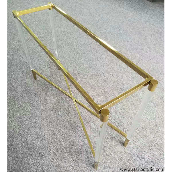 Gold Finish Acrylic Console Table